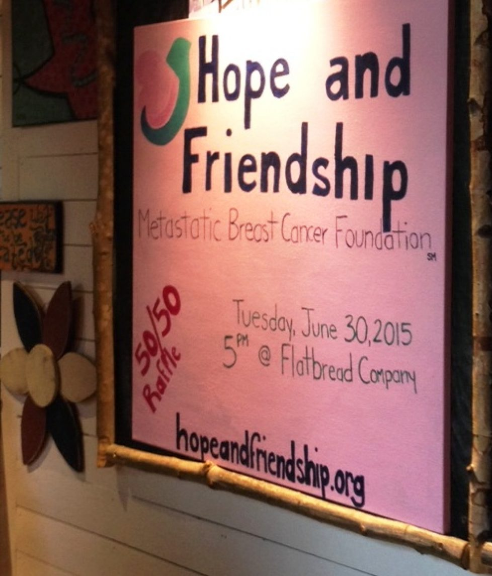 Flatbread Company Fundraiser in Bedford 2015 to Support the Hope and Friendship Metastatic Breast Cancer Foundation Massachusetts